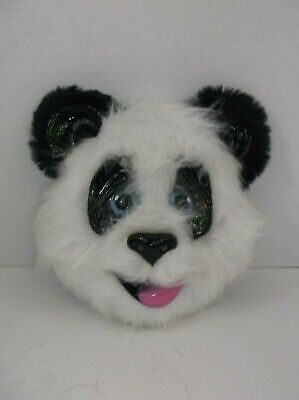 Panda Bear Face Mask Fur and Plastic Adult - Panda Bear Halloween Kostüm