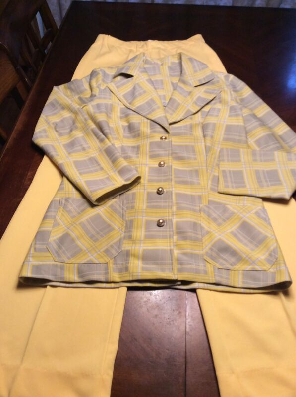 Womens Vintage 1960s Yellow Gray Plaid Polyester Suit Size 12 Button Front