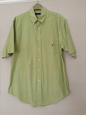 MENS MEDIUM GREEN CHECK SHORT SLEEVED SHIRT BY NAUTICA