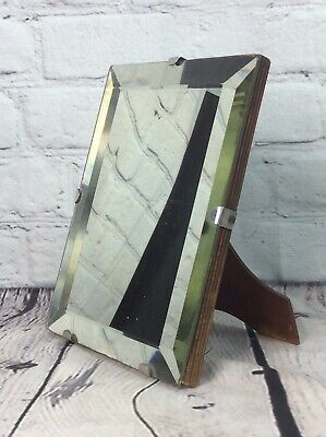 SMALL VINTAGE ART DECO BEVELLED TABLE MIRROR, WOODEN EASEL BACK FREE UK DELIVERY