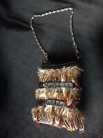 Ladies Sweet Small Evening Purse Real Duck ? Feathers Silver Tone Chain Handle - none - ebay.co.uk