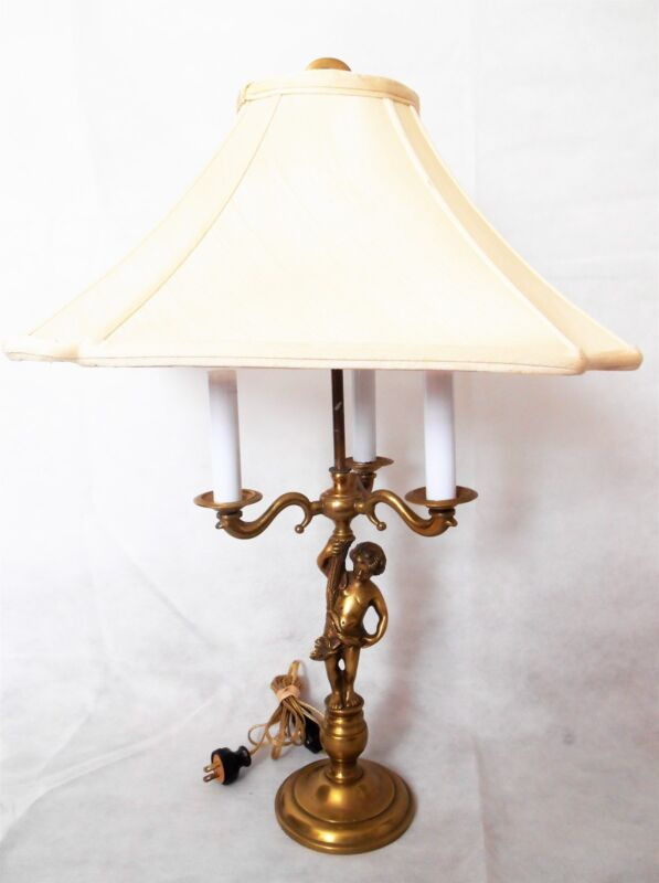 Vintage Bronze/Brass Cherub 3 Light Table Lamp made in Portugal