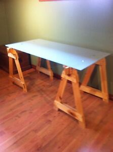 Glass top desk or table