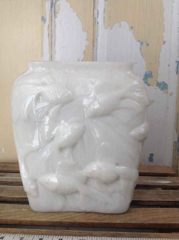 Pair Of White Milk Glass Vase Koi Fish