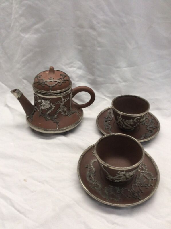 Beautiful vtg antique Chinese clay pewter overlay dragon  teapot cups saucers