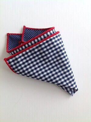 NEW Pocket Square Checks Polka Dots Red Trim Navy Blue Reversible Gift Cotton - Red Handkerchief