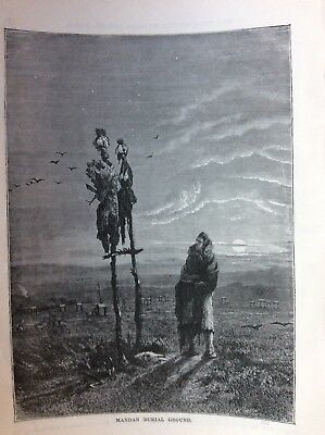 J1j Ephemera Victorian Book Plate 1874 Indian Mandan Burial Ground