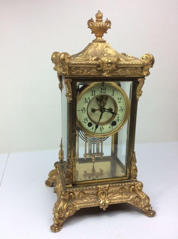 "Ansonia Gilded  Mantel Clock Open Escapement 16 1/2"" Tall"