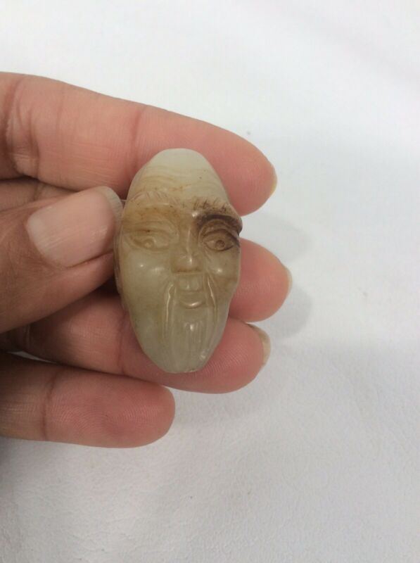 Beautiful Vtg Chinese Carve Jade Old Man Bead