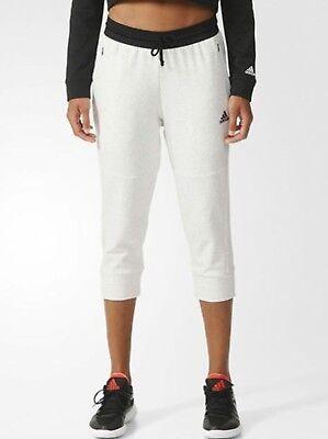 Jersey Yoga Capri Pant (Adidas Women Cotton Fleece 3/4 Pants Beige Training Capri Yoga GYM Jersey AZ9524)