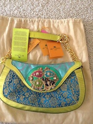 Bag Turquoise Trim ( NWT Authentic Etro bag in turquoise brocade and Lime Leather trim  )