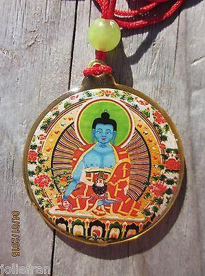 TIBETAN BUDDHIST HEALING MEDICINE BUDDHA  KALACHAKRA PENDANT NECKLACE RED CORD