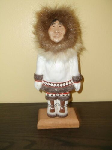 Inuit Mary Hand Made People Of Alaska Wood Fur Composition Face