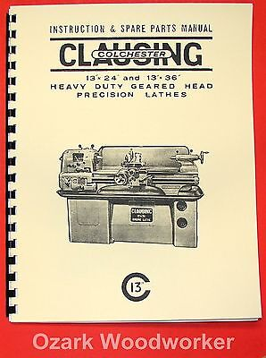 Clausing-colchester 13 Lathe Operator Parts Manual 6524652565266527 0159
