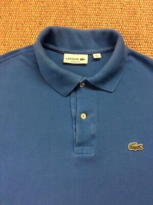 Mens LACOSTE 5 Large Blue Classic Fit Polo Shirt Great Condition