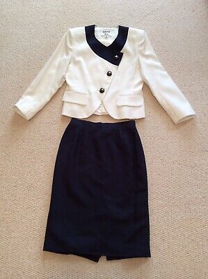 Kasper Petite Occasion Wear Cream And Navy Jacket And Skirt Both Size UK 10