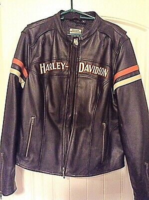 HARLEY DAVIDSON Women's XL Enthusiast Leather Jacket w/ Reflective Logos