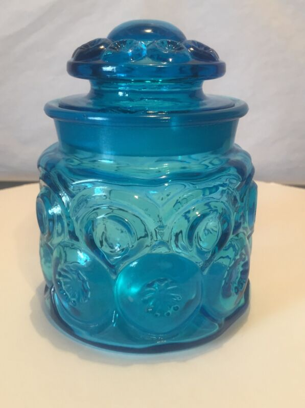 Vintage L E Smith Moon and Stars Blue Canister w/Lid  5""