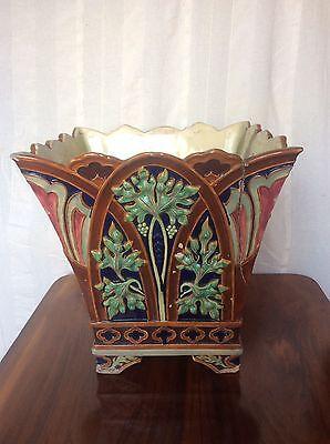 Huge Antique Victorian c19th COPELAND Majolica Pottery Jardiniere Gothic Arches