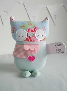 PERSONALISED Baby Children's Soft Toy Owl UNIQUE Handmade Gift