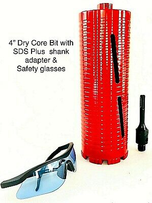 Sds Plus Shank Adapter With 4 Dry Core Bit For Use On Rotary Hammer Drill
