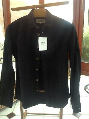 Just Junkies,Classic Thick Black Corduroy Shirt, Small, New With Tags RRP £70