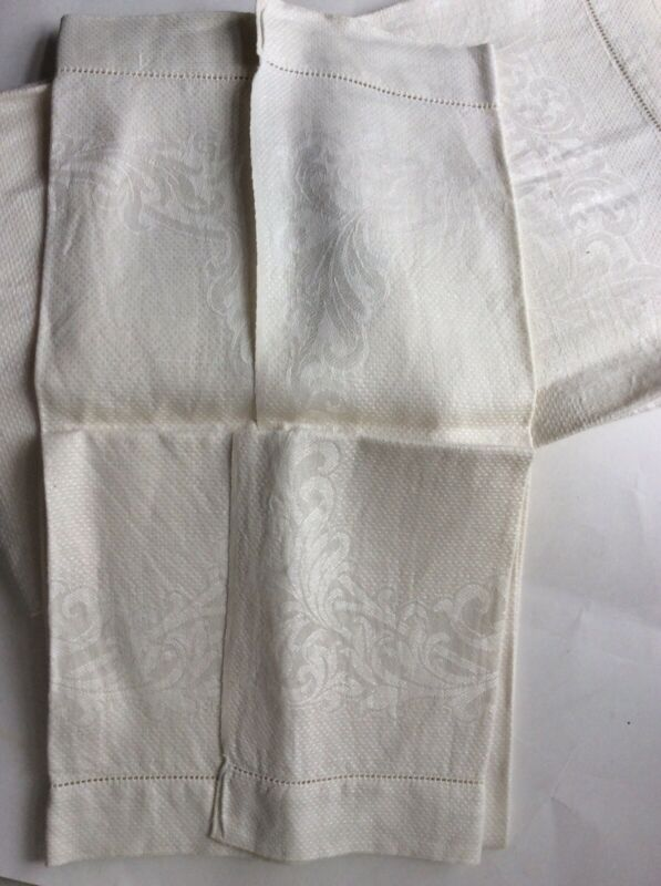 Antique Damask Off White 2 Towels Hemstitch Unused Floral Bath Linen