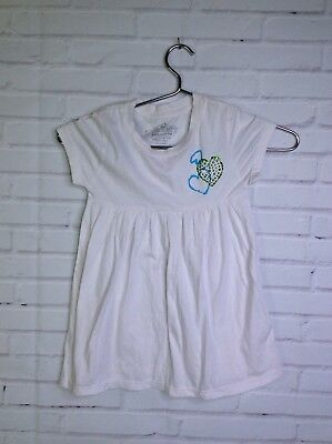 Flowers By Zoe Heart Tunic Shirt White Shore Sleeve Girls Size 5 (Flowers By Zoe)