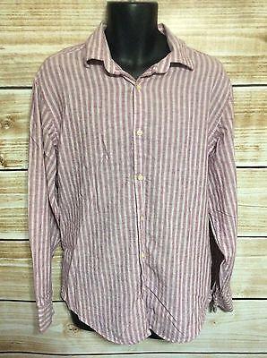 Banana Republic Burgundy Striped Long Sleeve Linen Blend Button Down Shirt Large