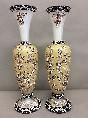 Pair of Bohemian Czech Overlay Glass and Enameled Vases 12 5/8""