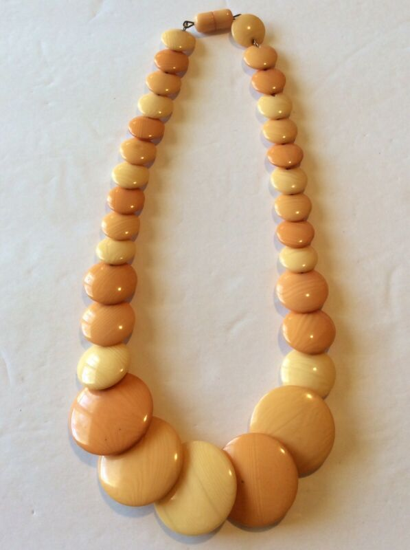 Vintage Art Deco Early Plastic Possible Bakelite? Disc Bead Necklace ESTATE Jewe