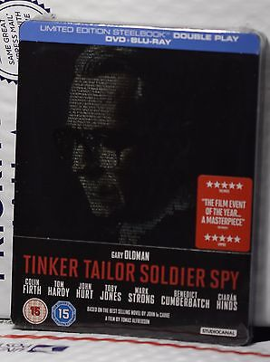 NEW TINKER TAILOR SOLDIER SPY BLU-RAY+DVD STEELBOOK! UK ZAVVI+REGION B!