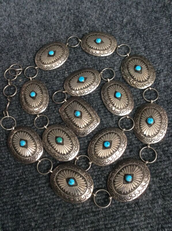 Vtg  Native American  Navajo  sterling Silver 925 Concho stamp  turquoise belt