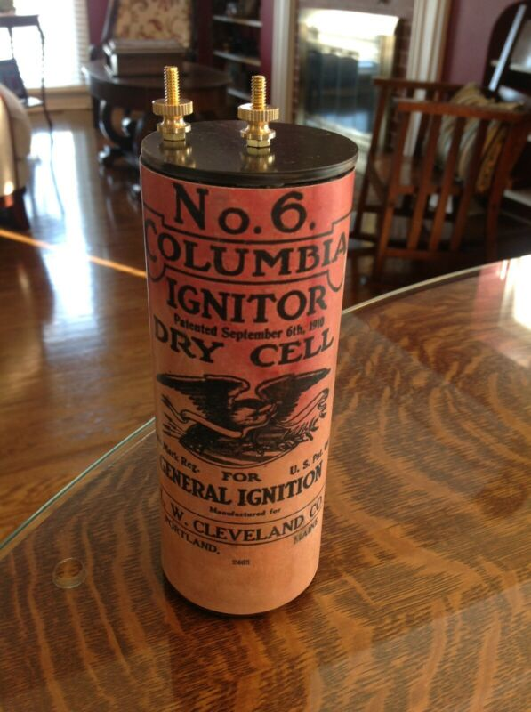 Antique Refillable #6 Columbia Ignitor Dry Cell Battery Telephone, Radio Lantern