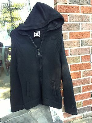 CHANEL Black Zipper Thick CableKnit Hoodie Sweater Coat SZ 44~NEW w/Tags+FREE SH