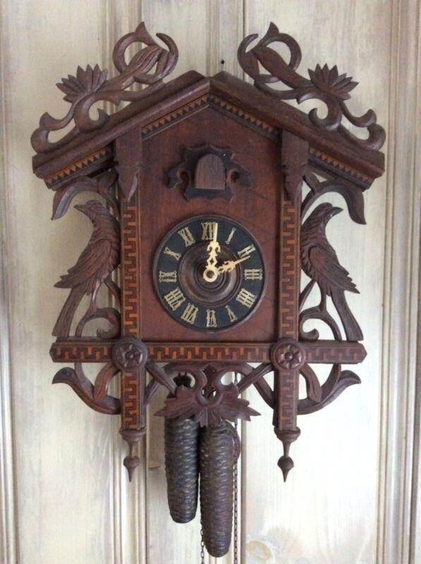 1890's Quail Cuckoo Clock With Bahnhausli Style Case