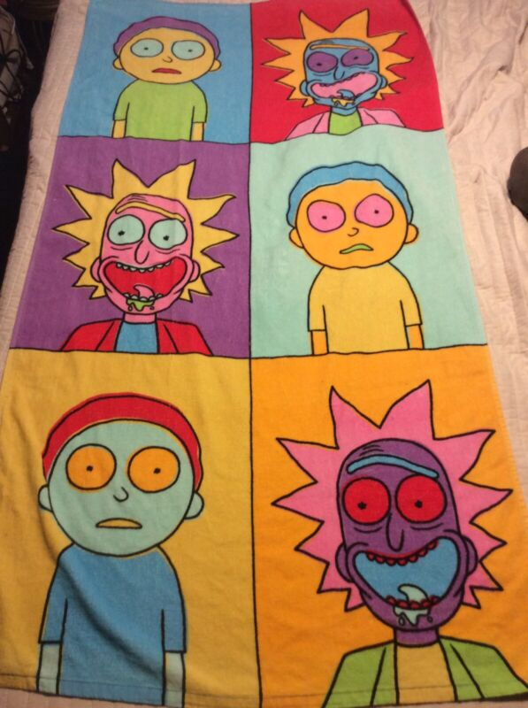 Rick and Morty Towel Adult Swim Pop Art Warhol Inspired. 30x60 Sold Out