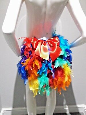 RAINBOW FEATHER BUSTLE WITH RED (Bustle Bow)