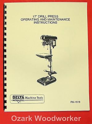Delta-milwaukee 17 Drill Press Instructions Parts Manual With Foot Feed 0240