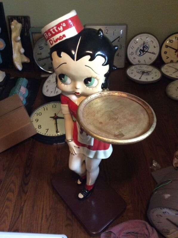 """Vintage 38"""" Tall Betty Boop Waitress Statue Holding Tray - Very Good"""