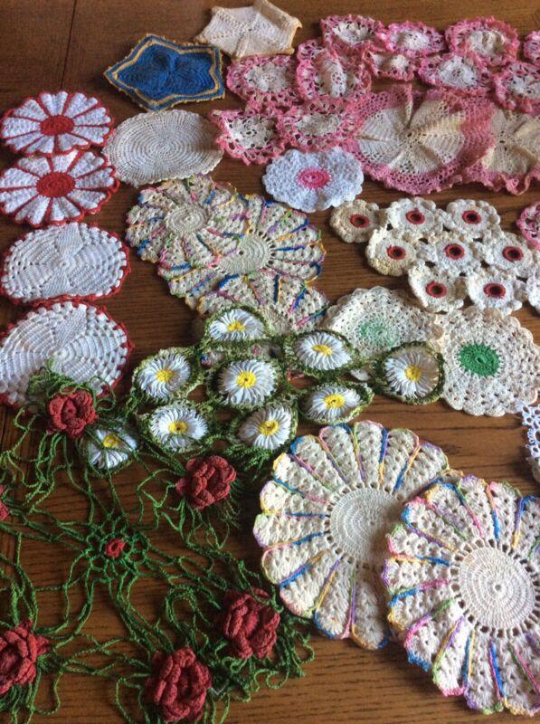 45 PCs Vintage Hand crocheted Doilies Cotton Lace Various Color And Patterns