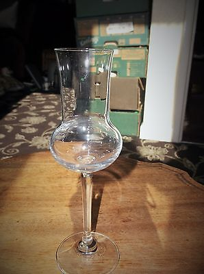 "ELEGANT SHAPELY POSY VASE GLASS OR TALL CANDLE HOLDER EX COND 7"" HIGH"
