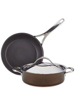 Anolon Nouvelle Copper Luxe Sable Hard-Anodized Nonstick 3-Pc. Cookware Set Anolon Hard Anodized Cookware