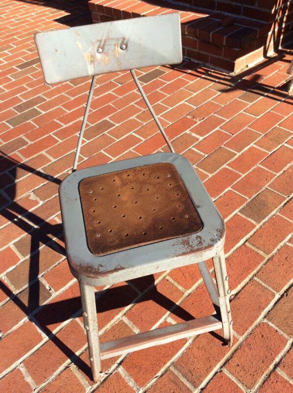 Vintage Gray Metal Industrial Stool W / Back & Masonite Seat - Good