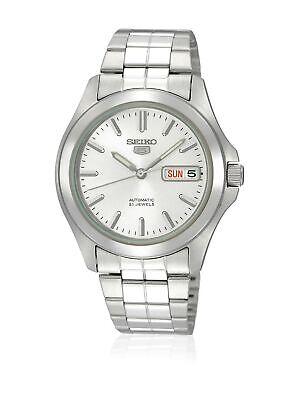 Seiko 5 Automatic Silver Tone Dial Stainless Steel Link Bracelet Watch SNKK87K1