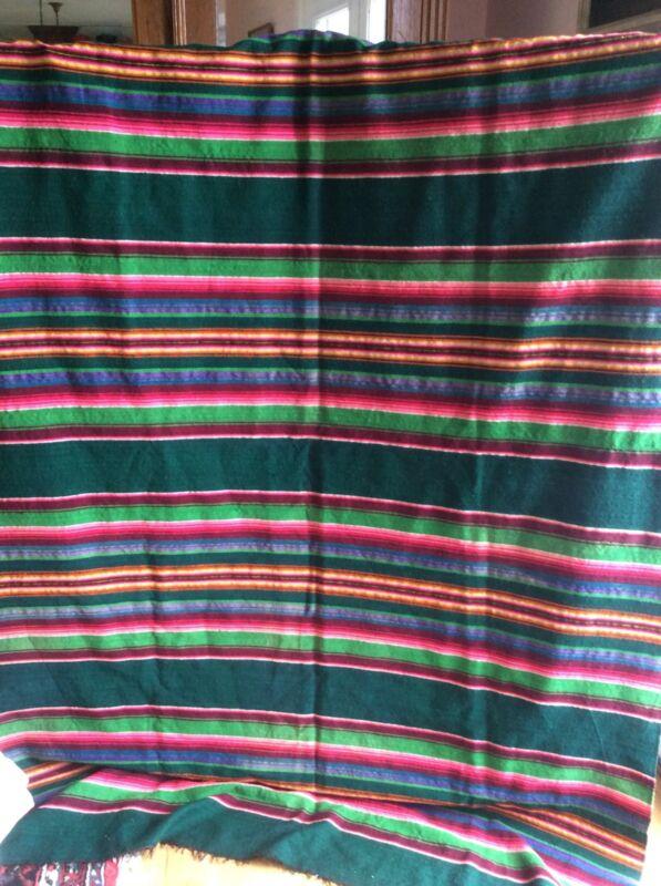 Vintage Wool Striped Artisan Woven Rug Throw Textile Latin America