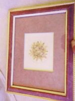 Small Very Pretty Gilt Pink Leather Look Frame Glazed Pressed Flowers & Leaves -  - ebay.co.uk