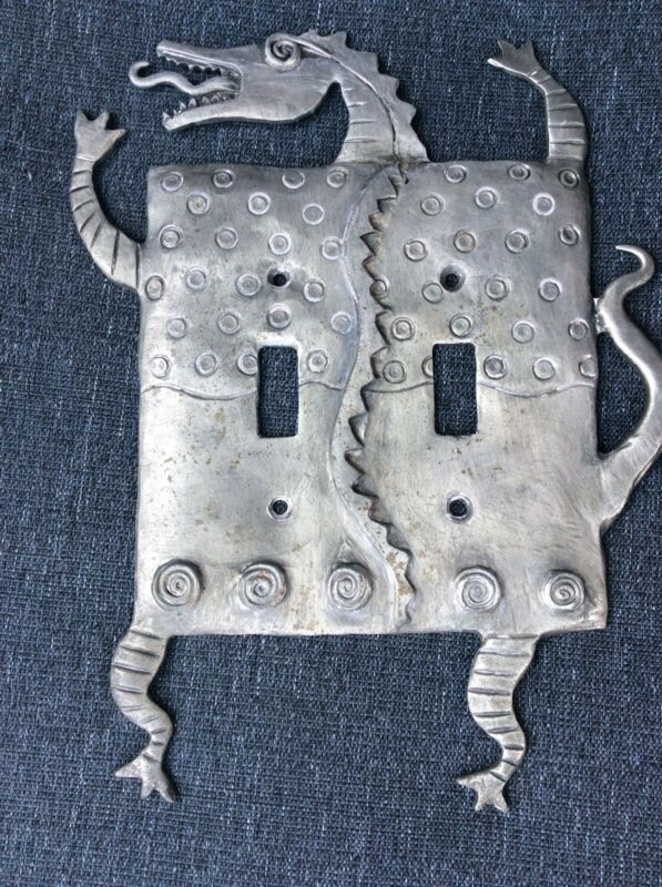 Leandra Drumm Artisan Whimsical Handmade Pewter Dragon Double Toggle Switchplate