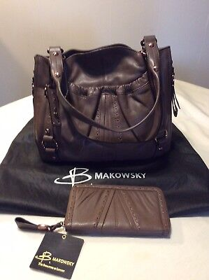 B. Makowsky Tribeca Leather Bag Cocoa with Matching Wallet NEW with Tags for sale  Reynoldsburg