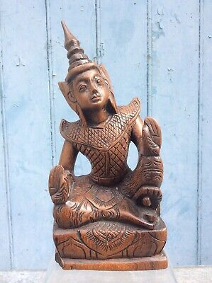 "VINTAGE THAI CARVED WOODEN BUDDHA 8 1/4"" HIGH, FREE UK DELIVERY"